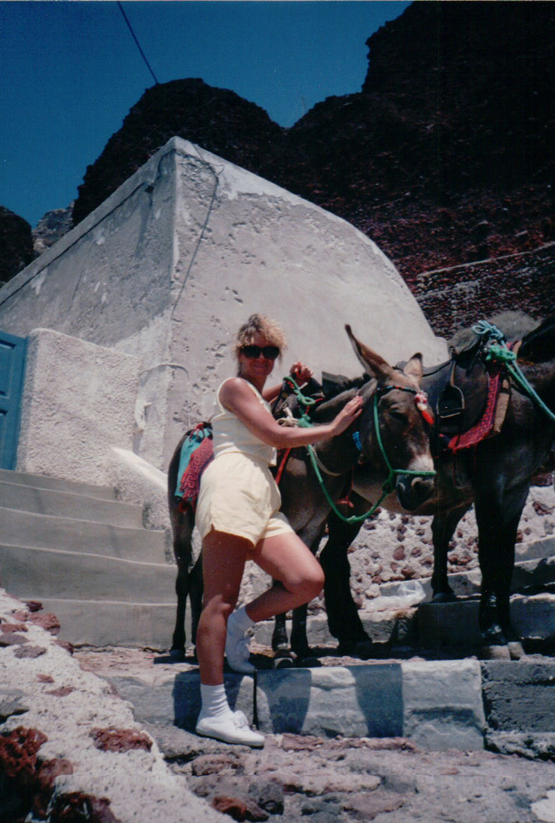 Cathie & the Santorini Donkeys